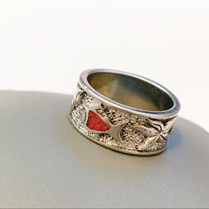 Silver Plated Underwater Turquoise Coral Ring
